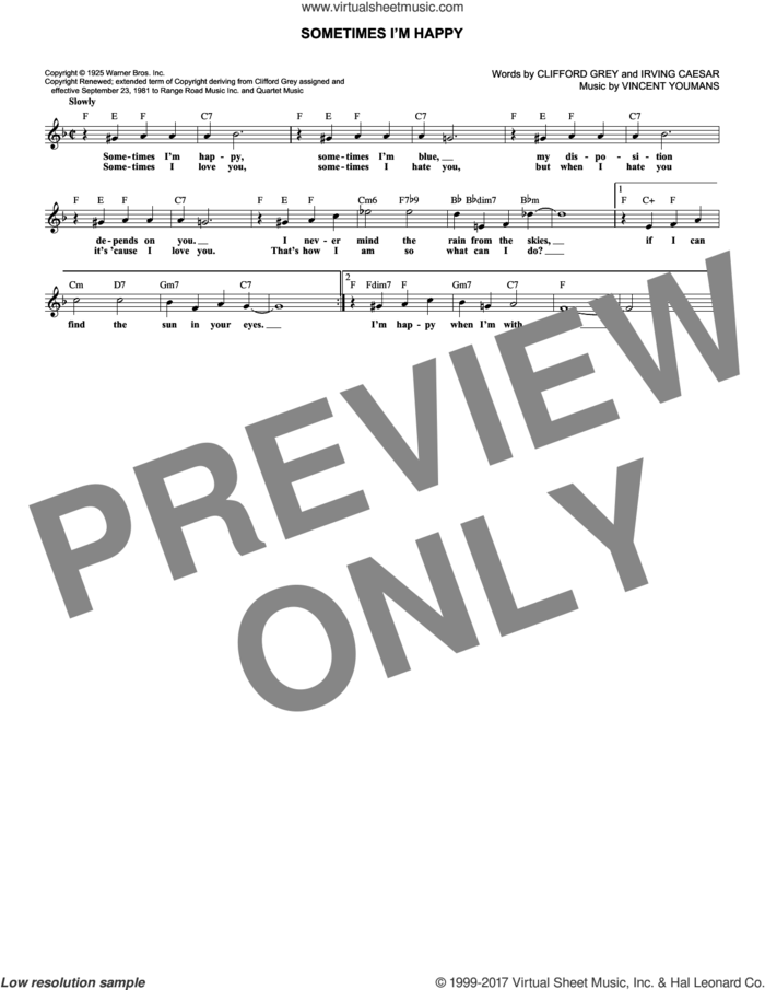 Sometimes I'm Happy sheet music for voice and other instruments (fake book) by Vincent Youmans, Clifford Grey and Irving Caesar, intermediate skill level
