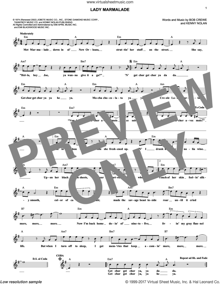 Lady Marmalade sheet music for voice and other instruments (fake book) by Kenny Nolan, Patti LaBelle and Robert Crew, intermediate skill level