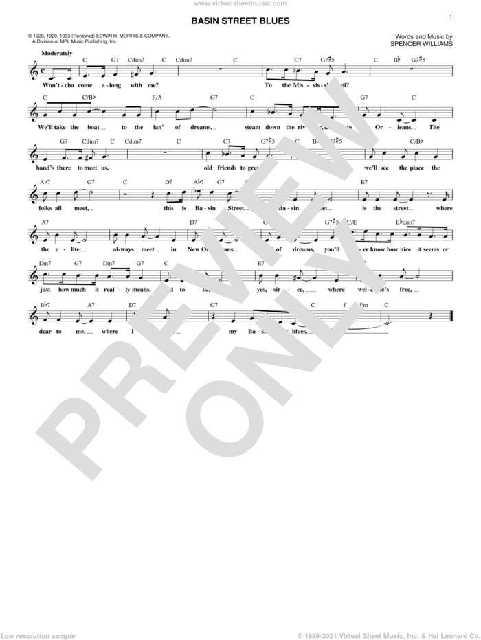 Basin Street Blues sheet music for voice and other instruments (fake book) by Spencer Williams, intermediate skill level