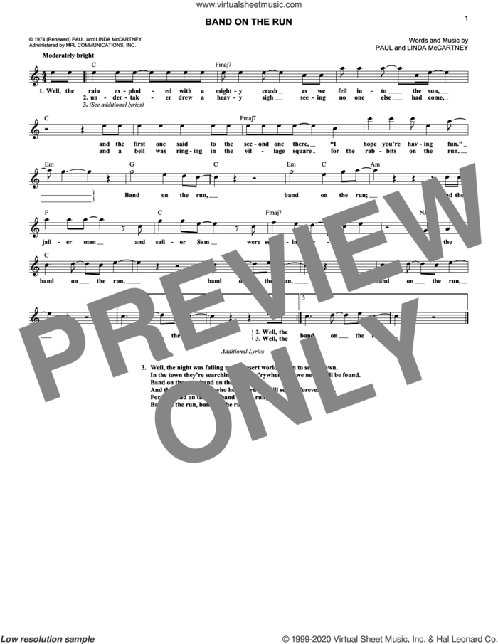 Band On The Run sheet music for voice and other instruments (fake book) by Paul McCartney and Wings, Linda McCartney and Paul McCartney, intermediate skill level
