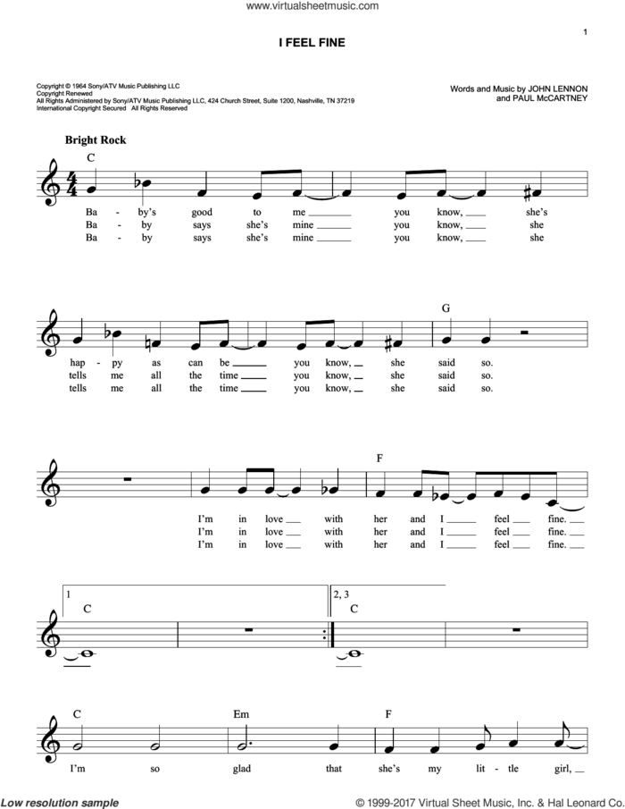 I Feel Fine sheet music for voice and other instruments (fake book) by The Beatles, John Lennon and Paul McCartney, intermediate skill level
