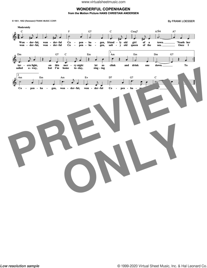Wonderful Copenhagen sheet music for voice and other instruments (fake book) by Frank Loesser, intermediate skill level