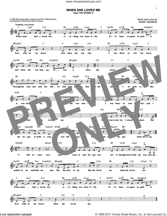 When She Loved Me (from Toy Story 2) sheet music for voice and other instruments (fake book) by Sarah McLachlan and Randy Newman, intermediate skill level