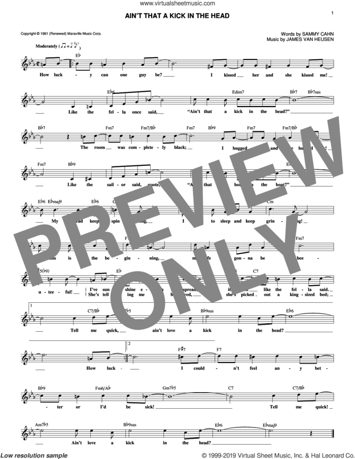 Ain't That A Kick In The Head sheet music for voice and other instruments (fake book) by Sammy Cahn, Dean Martin and Jimmy van Heusen, intermediate skill level