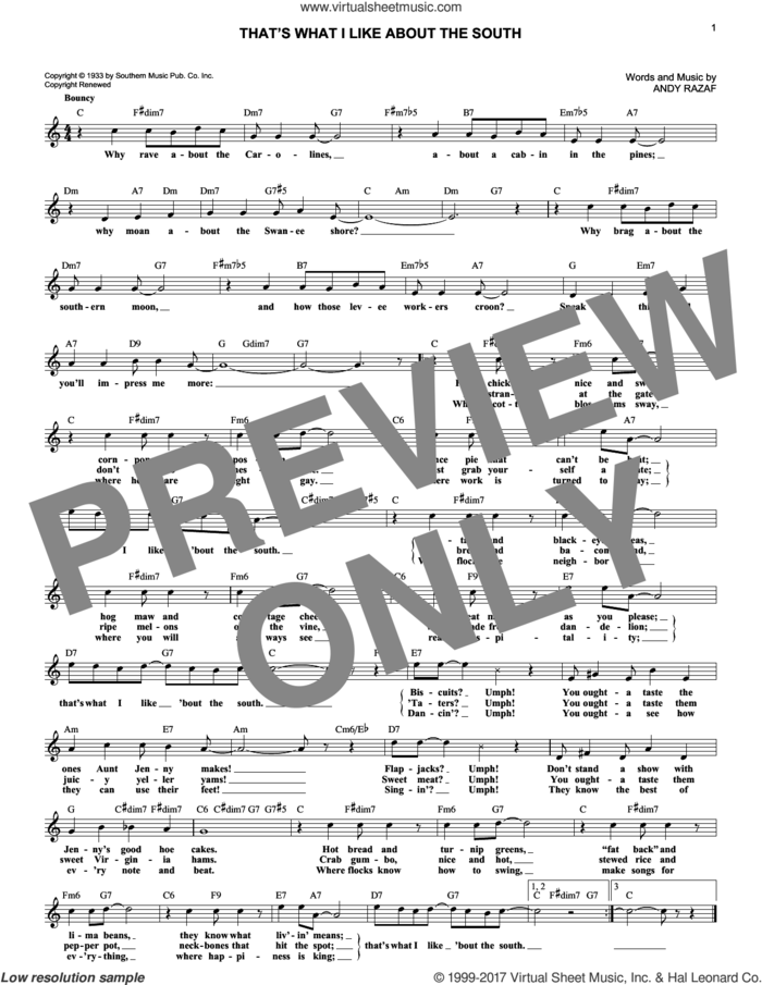That's What I Like About The South sheet music for voice and other instruments (fake book) by Andy Razaf, intermediate skill level