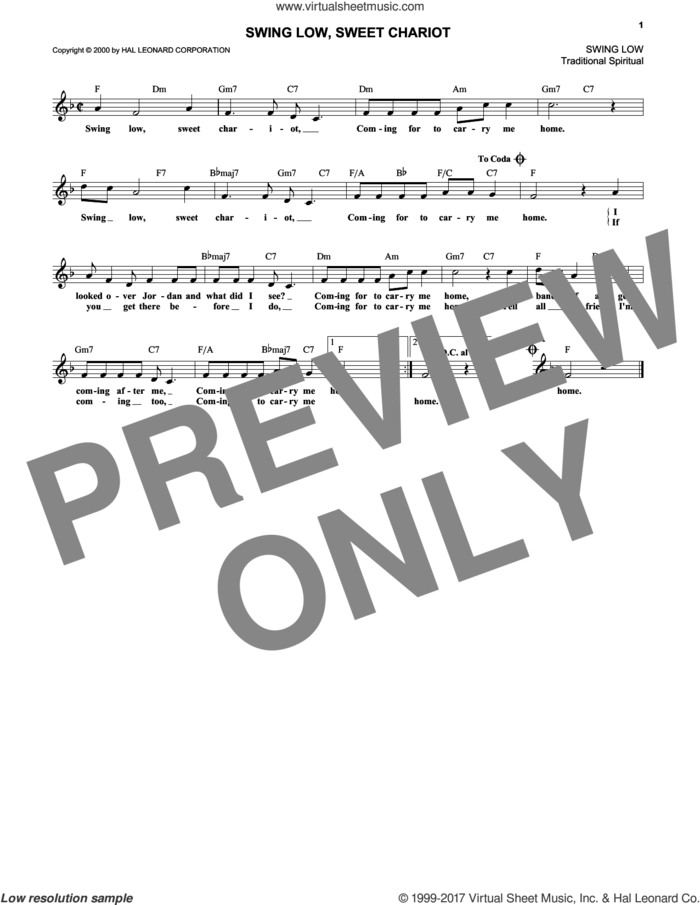Swing Low, Sweet Chariot sheet music for voice and other instruments (fake book), intermediate skill level