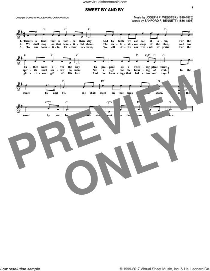 Sweet By And By sheet music for voice and other instruments (fake book) by Joseph P. Webster and Sanford Fillmore Bennett, intermediate skill level