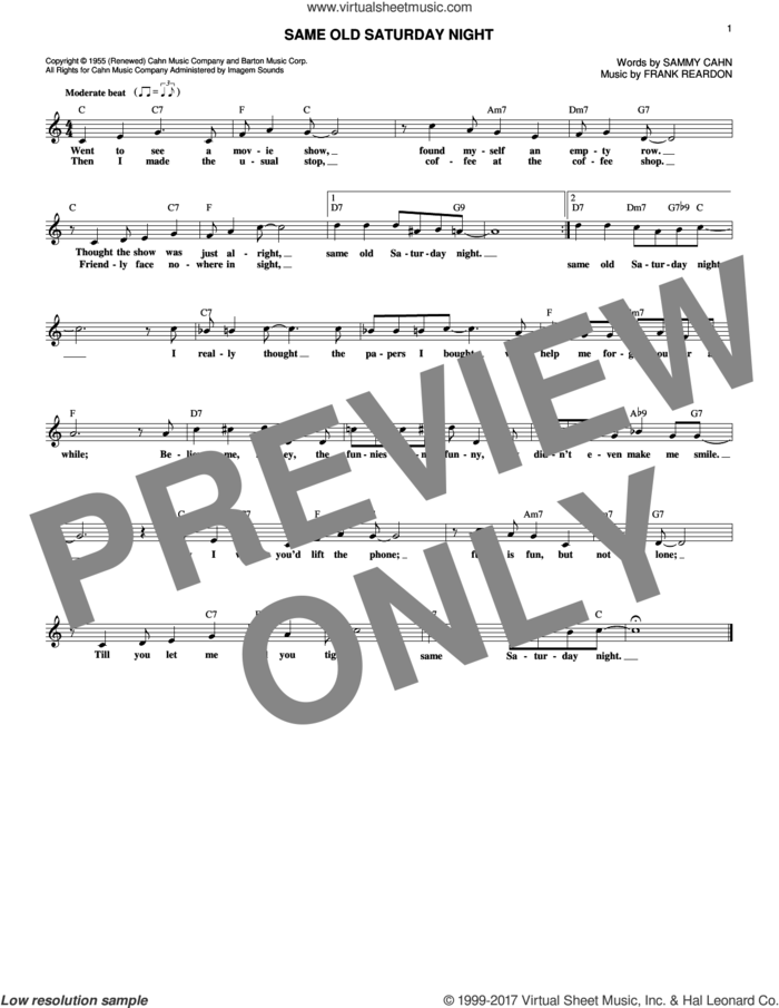 Same Old Saturday Night sheet music for voice and other instruments (fake book) by Sammy Cahn and Frank Reardon, intermediate skill level