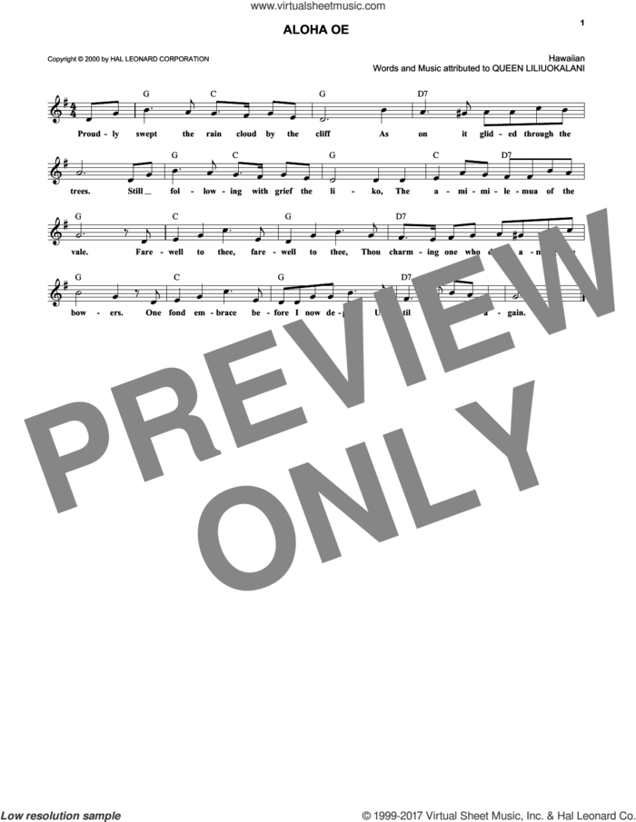Aloha Oe sheet music for voice and other instruments (fake book) by Queen Liliuokalani, intermediate skill level