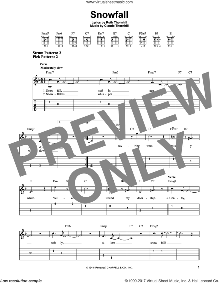 Snowfall sheet music for guitar solo (easy tablature) by Tony Bennett, Claude Thornhill and Ruth Thornhill, easy guitar (easy tablature)