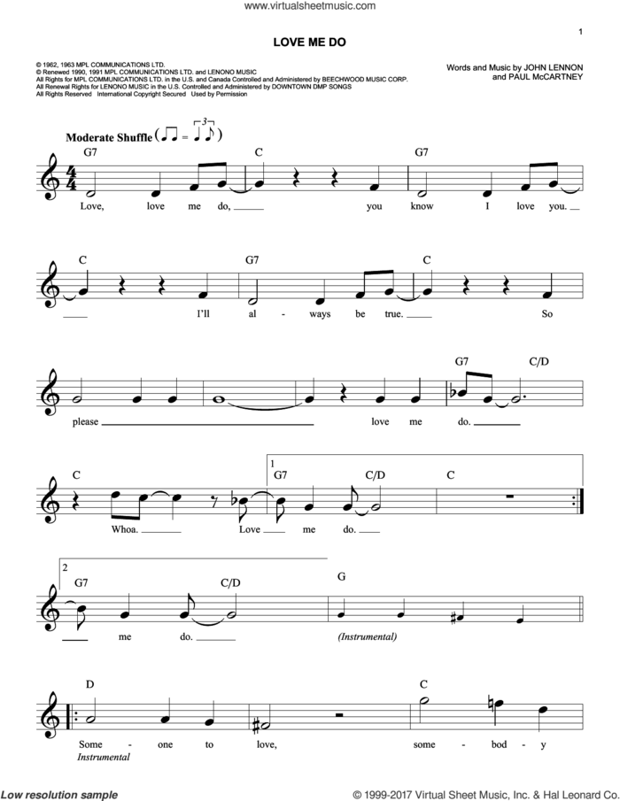 Love Me Do sheet music for voice and other instruments (fake book) by The Beatles, John Lennon and Paul McCartney, intermediate skill level