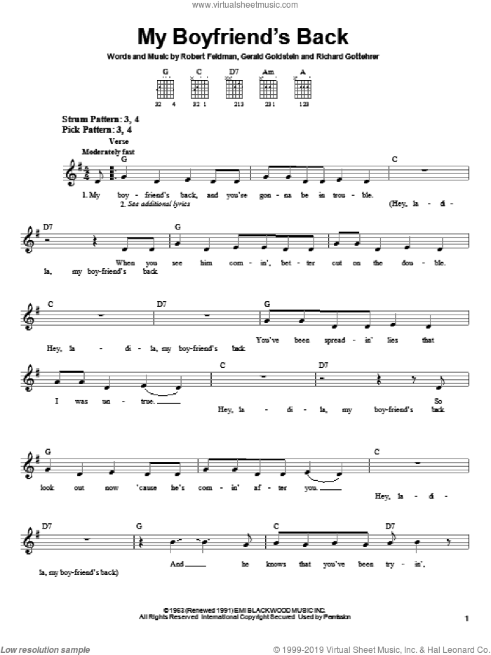 My Boyfriend's Back sheet music for guitar solo (chords) by Bobby Comstock, The Angels, Gerald Goldstein, Richard Gottehrer and Robert Feldman, easy guitar (chords)