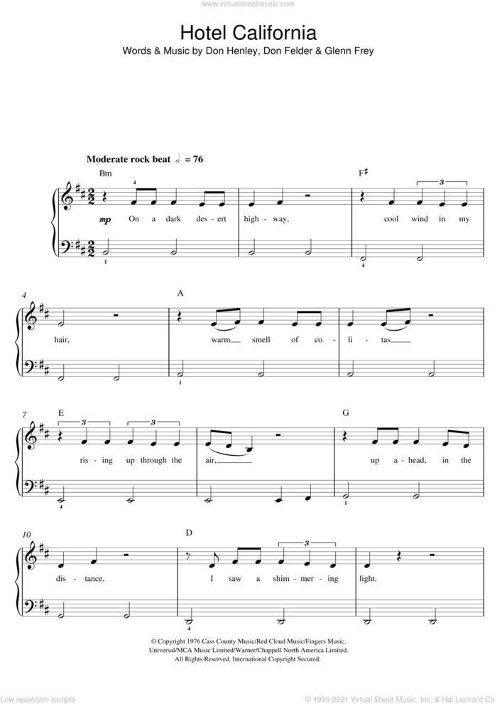 Hotel California sheet music for piano solo (beginners) by The Eagles, beginner piano (beginners)