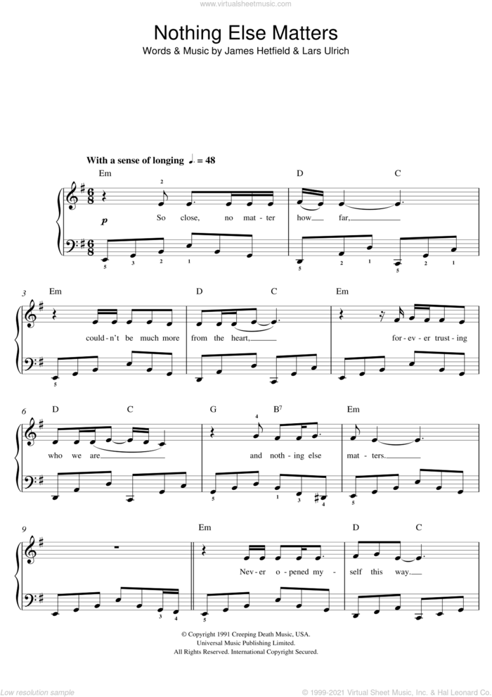 Nothing Else Matters sheet music for piano solo (beginners) by Metallica, beginner piano (beginners)