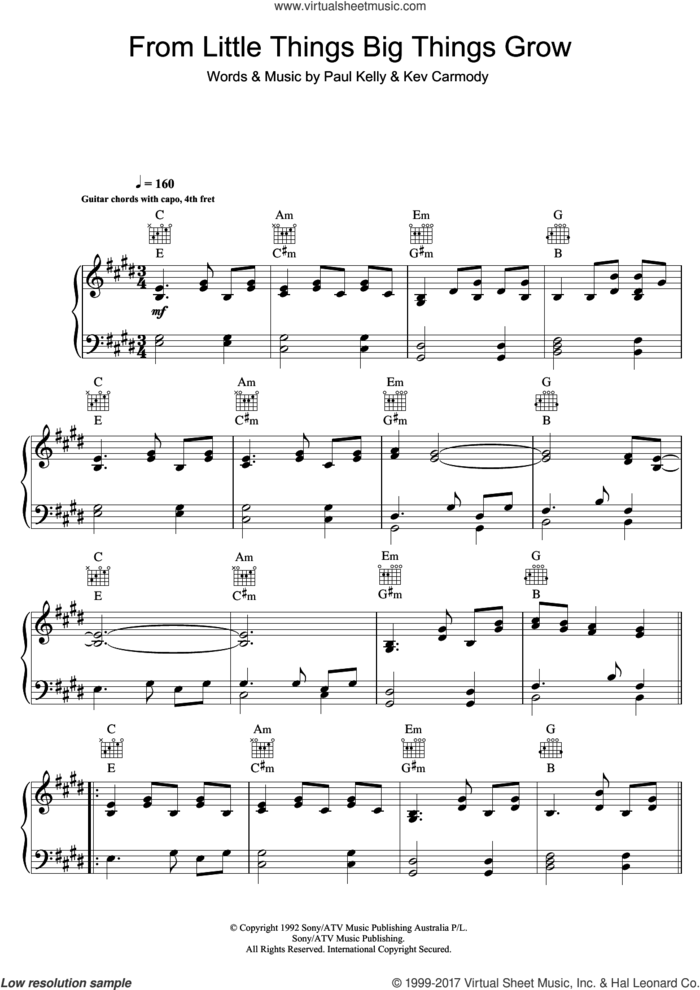 From Little Things Big Things Grow sheet music for voice, piano or guitar by Paul Kelly and Kev Carmody, intermediate skill level