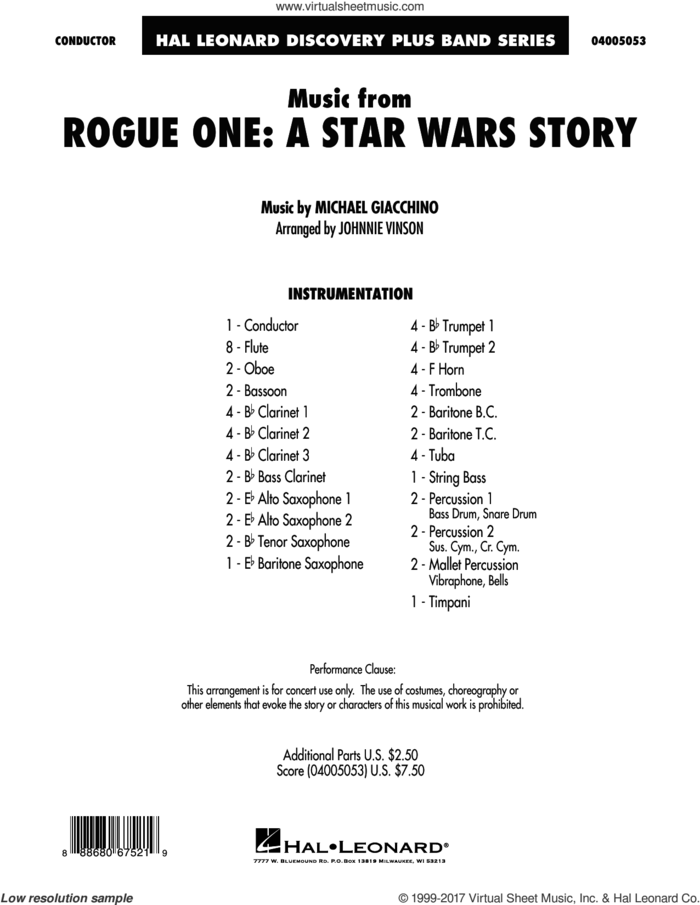Music from Rogue One: A Star Wars Story (COMPLETE) sheet music for concert band by Michael Giacchino and Johnnie Vinson, intermediate skill level