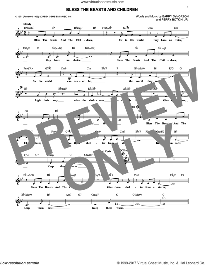Bless The Beasts And Children sheet music for voice and other instruments (fake book) by Carpenters, Barry DeVorzon and Perry Botkin, Jr., intermediate skill level