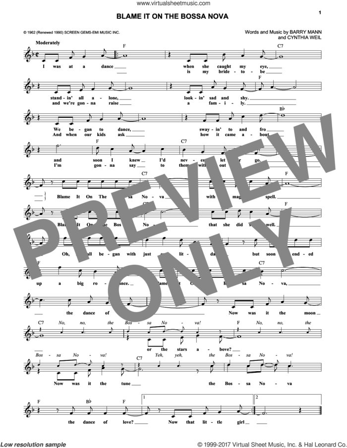Blame It On The Bossa Nova sheet music for voice and other instruments (fake book) by Barry Mann, Eydie Gorme and Cynthia Weil, intermediate skill level