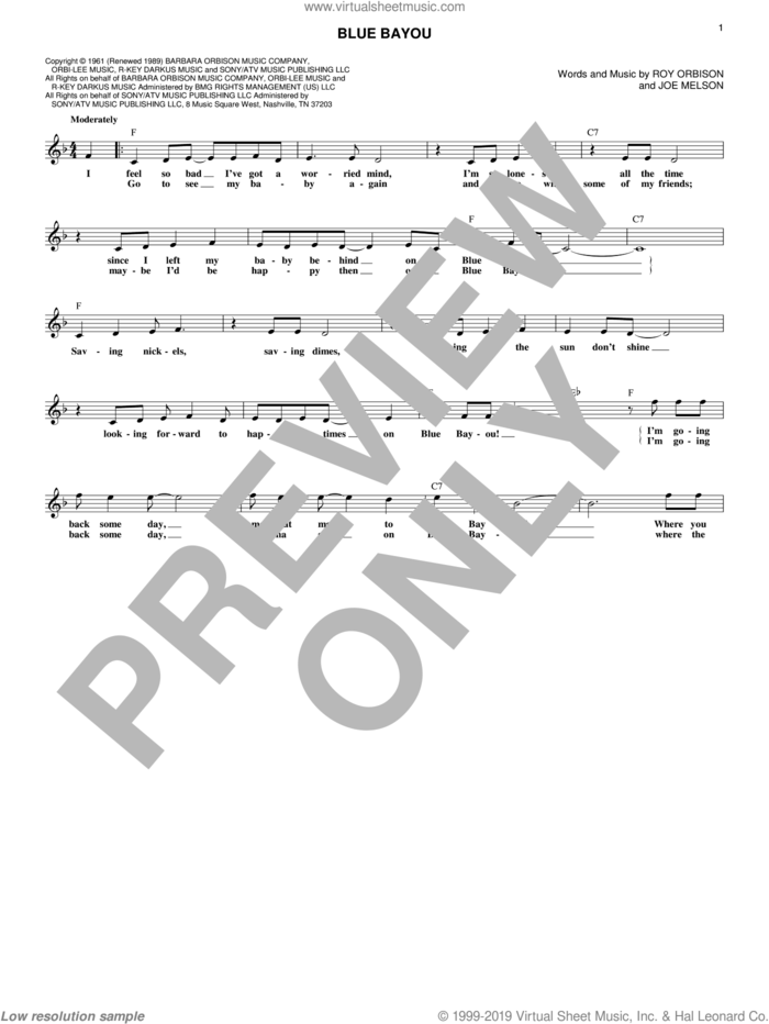 Blue Bayou sheet music for voice and other instruments (fake book) by Roy Orbison, Joe Melson and Linda Ronstadt, intermediate skill level