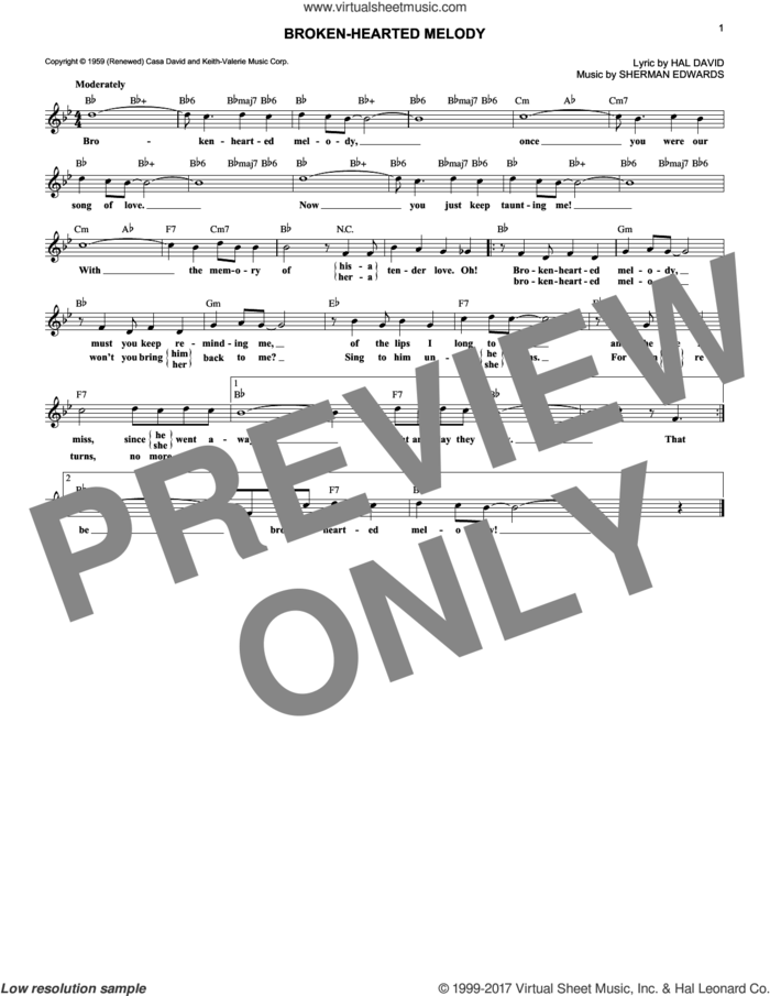 Broken-Hearted Melody sheet music for voice and other instruments (fake book) by Sarah Vaughan, Hal David and Sherman Edwards, intermediate skill level