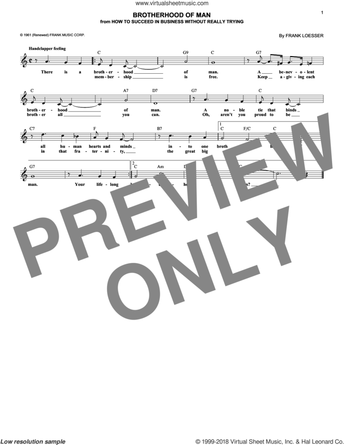 Brotherhood Of Man sheet music for voice and other instruments (fake book) by Frank Loesser, intermediate skill level