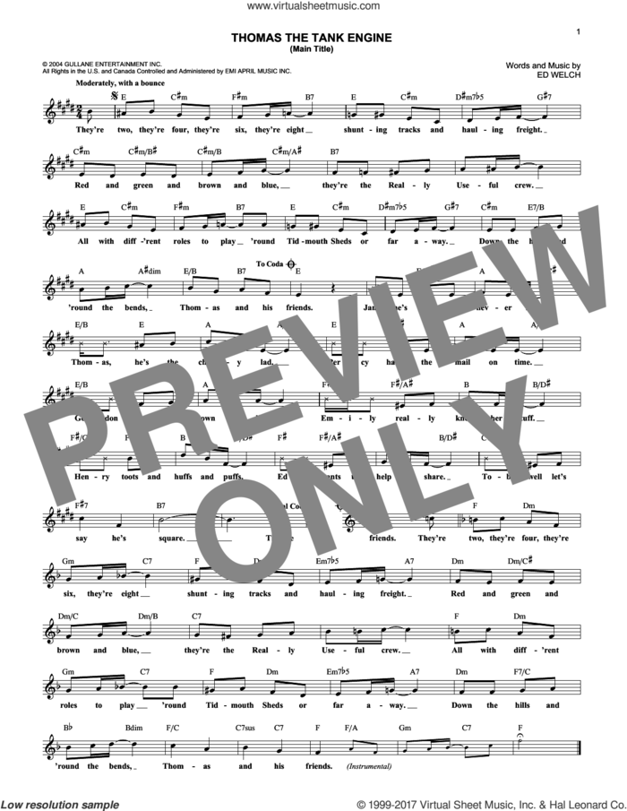 Thomas The Tank Engine (Main Title) sheet music for voice and other instruments (fake book) by Ed Welch, intermediate skill level