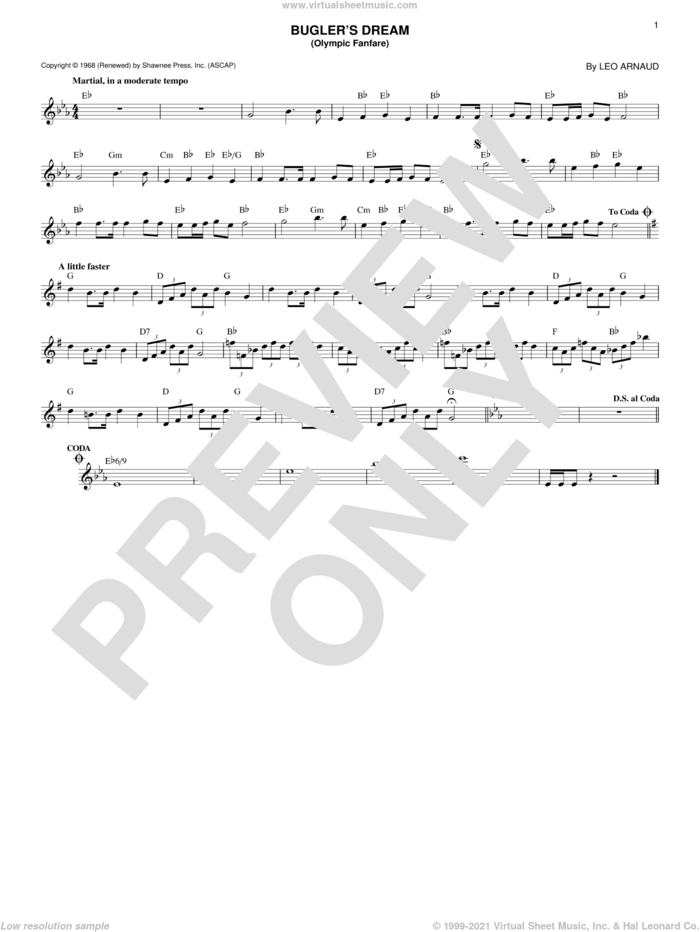 Bugler's Dream (Olympic Fanfare) sheet music for voice and other instruments (fake book) by Leo Arnaud, intermediate skill level