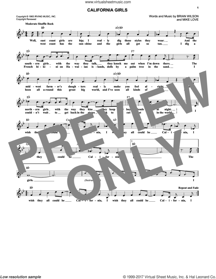 California Girls sheet music for voice and other instruments (fake book) by The Beach Boys, David Lee Roth, Brian Wilson and Mike Love, intermediate skill level