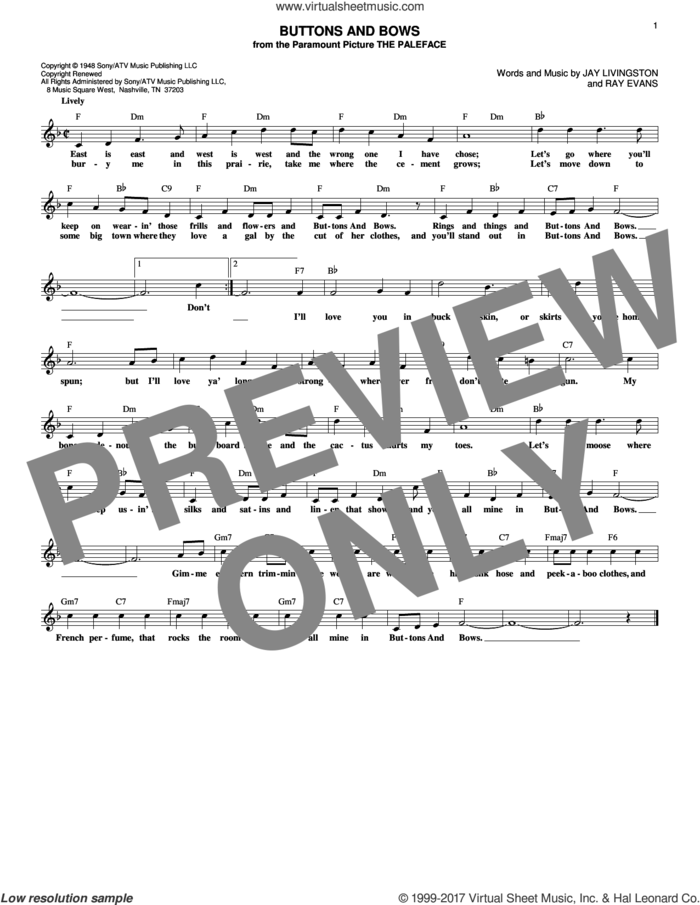 Buttons And Bows sheet music for voice and other instruments (fake book) by Jay Livingston and Ray Evans, intermediate skill level