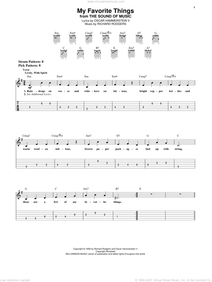 My Favorite Things sheet music for guitar solo (easy tablature) by Rodgers & Hammerstein, Oscar II Hammerstein and Richard Rodgers, easy guitar (easy tablature)