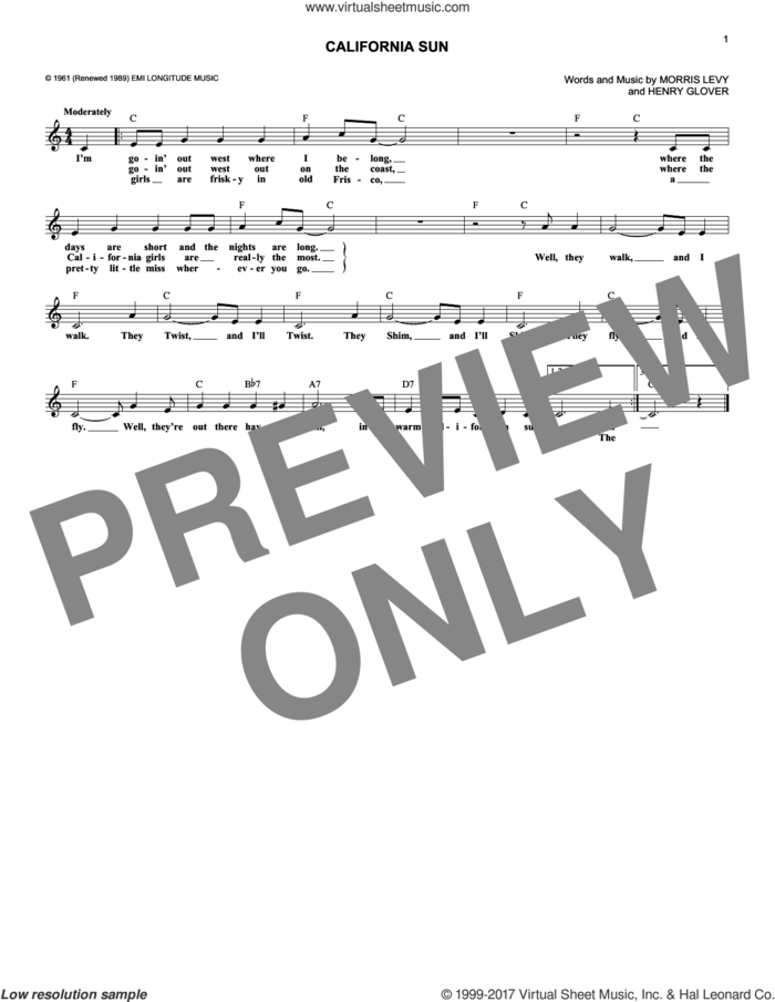 California Sun sheet music for voice and other instruments (fake book) by Rivieras, Joe Jones, Henry Glover and Morris Levy, intermediate skill level