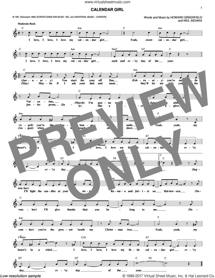 Calendar Girl sheet music for voice and other instruments (fake book) by Neil Sedaka and Howard Greenfield, intermediate skill level