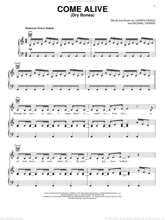 Come Alive (Dry Bones) sheet music for voice, piano or guitar by Michael Farren and Lauren Daigle, intermediate skill level
