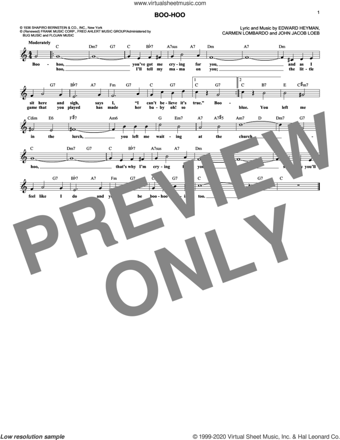 Boo-Hoo sheet music for voice and other instruments (fake book) by Edward Heyman, Carmen Lombardo and John Jacob Loeb, intermediate skill level