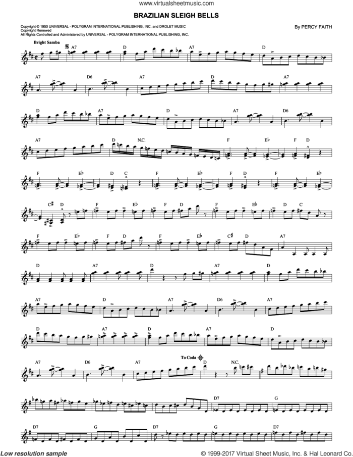 Brazilian Sleigh Bells sheet music for voice and other instruments (fake book) by Percy Faith, intermediate skill level