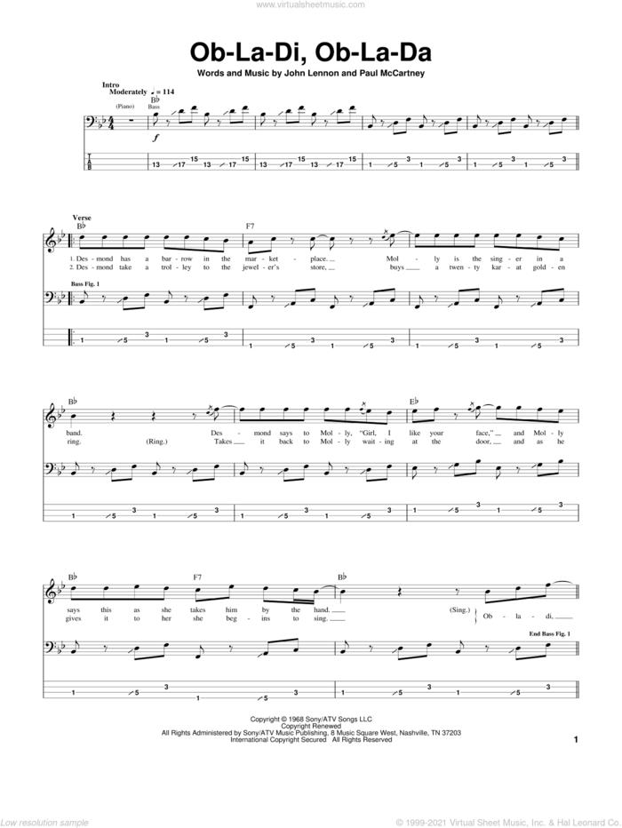 Ob-La-Di, Ob-La-Da sheet music for bass (tablature) (bass guitar) by The Beatles, John Lennon and Paul McCartney, intermediate skill level