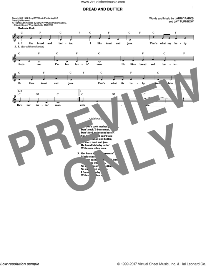 Bread And Butter sheet music for voice and other instruments (fake book) by Newbeats, Jay Turnbow and Larry Parks, intermediate skill level