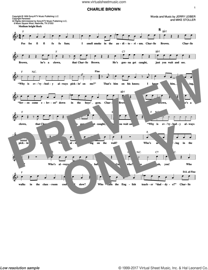 Charlie Brown sheet music for voice and other instruments (fake book) by The Coasters, Jerry Leiber and Mike Stoller, intermediate skill level