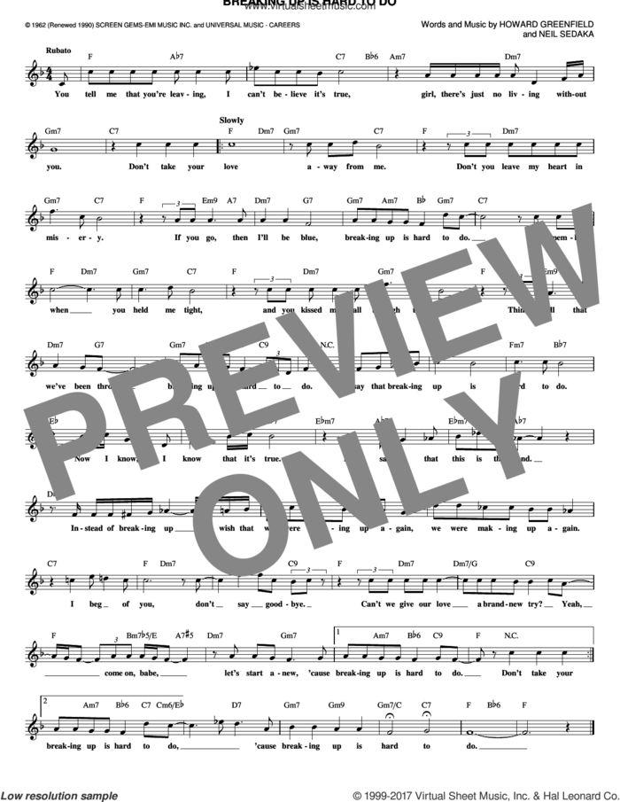 Breaking Up Is Hard To Do sheet music for voice and other instruments (fake book) by Neil Sedaka, Partridge Family and Howard Greenfield, intermediate skill level