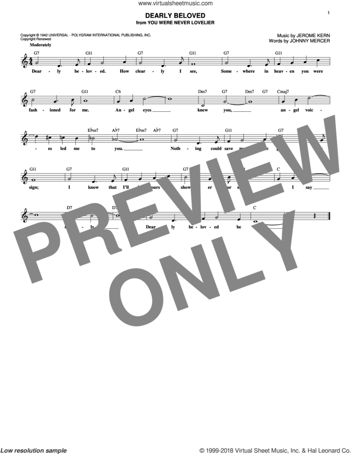 Dearly Beloved sheet music for voice and other instruments (fake book) by Jerome Kern and Johnny Mercer, intermediate skill level