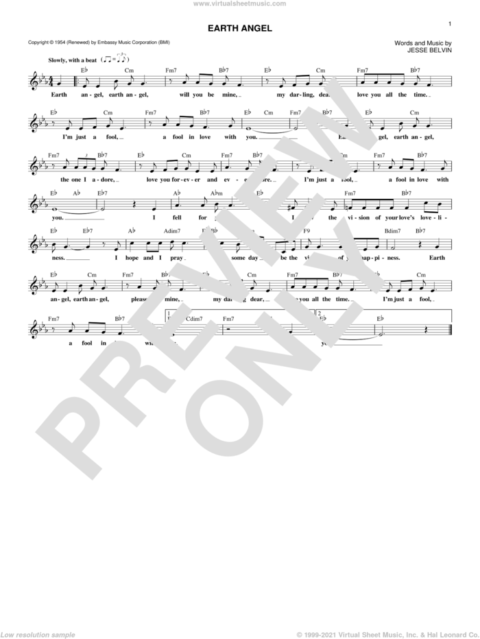 Earth Angel sheet music for voice and other instruments (fake book) by The Penguins, Crew-Cuts, Miscellaneous and Jesse Belvin, intermediate skill level