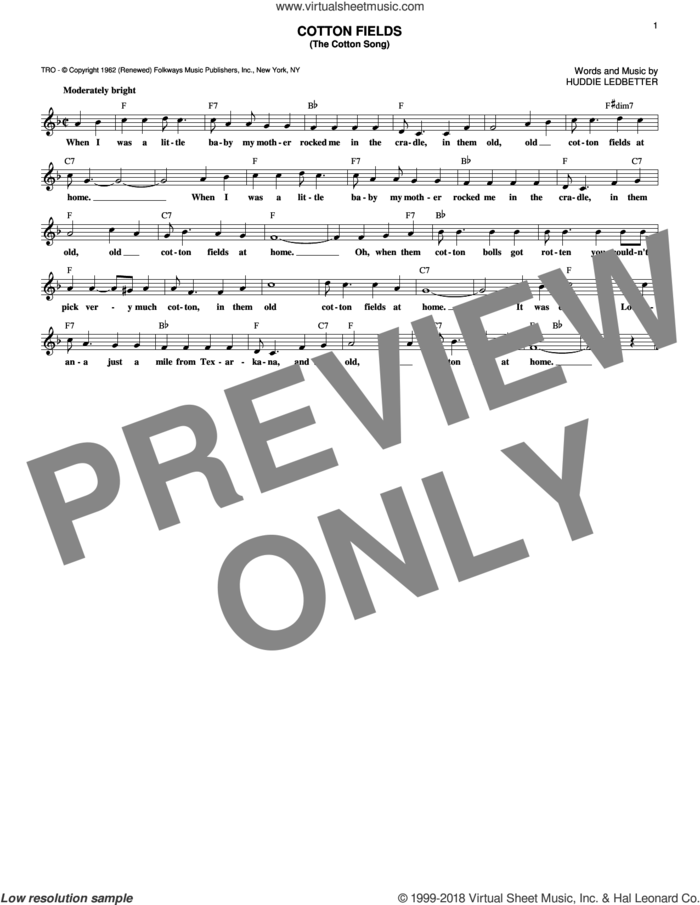 Cotton Fields (The Cotton Song) sheet music for voice and other instruments (fake book) by Creedence Clearwater Revival, The Highwaymen and Huddie Ledbetter, intermediate skill level