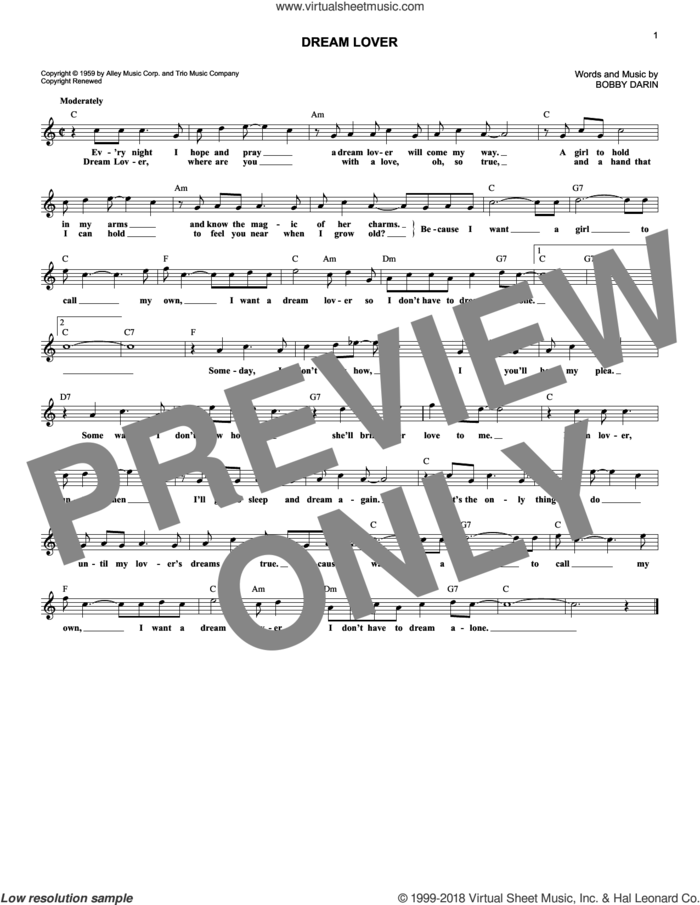 Dream Lover sheet music for voice and other instruments (fake book) by Bobby Darin and Manhattan Transfer, intermediate skill level