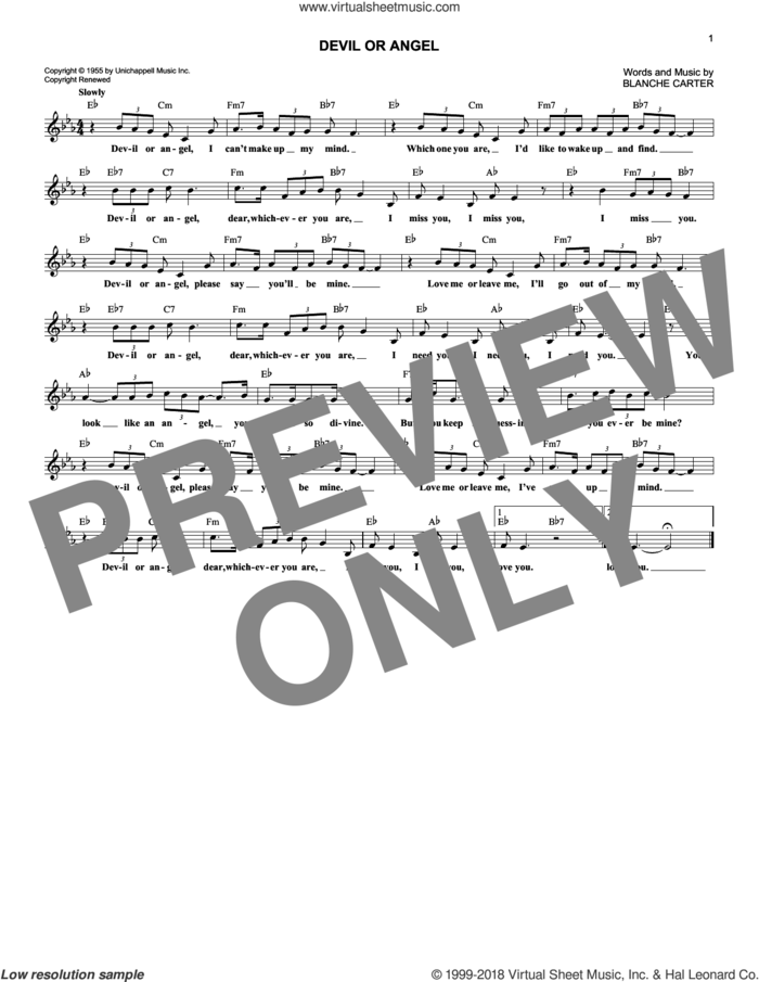 Devil Or Angel sheet music for voice and other instruments (fake book) by Bobby Vee and Blanche Carter, intermediate skill level