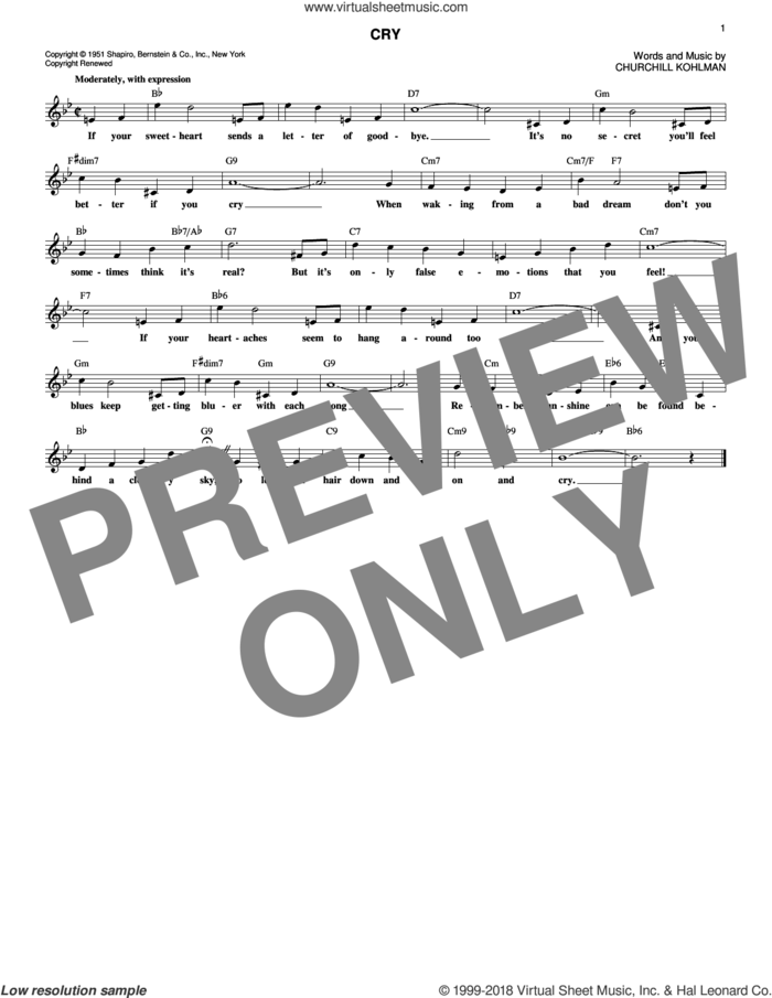 Cry sheet music for voice and other instruments (fake book) by Churchill Kohlman, Crystal Gayle and Johnnie Ray, intermediate skill level