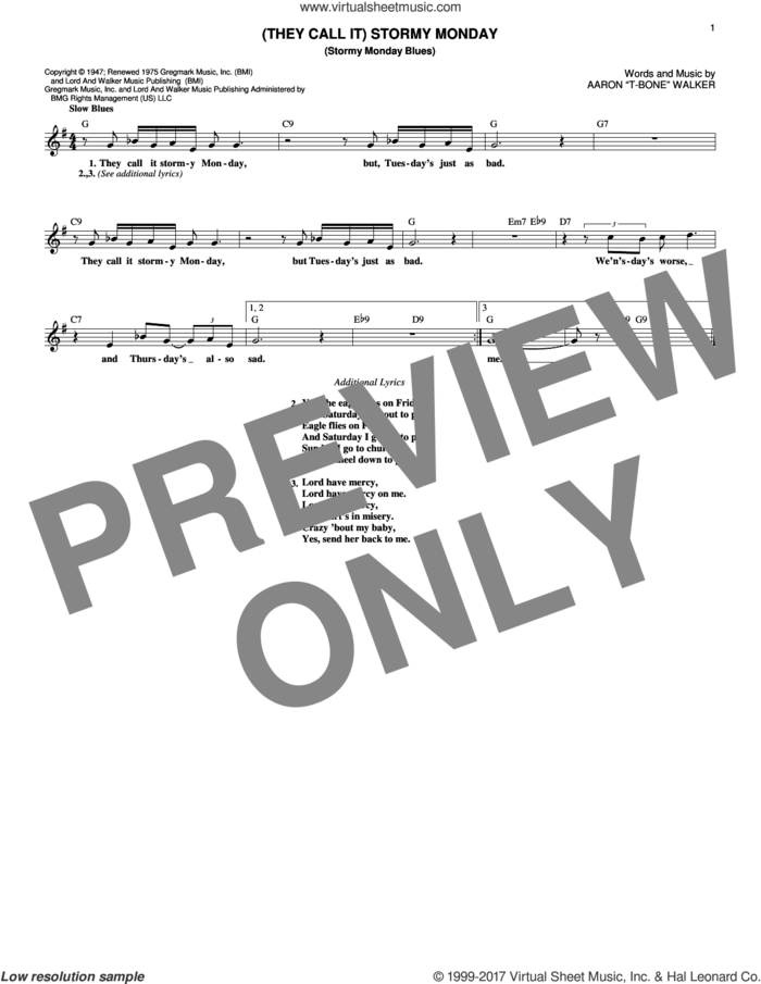 (They Call It) Stormy Monday (Stormy Monday Blues) sheet music for voice and other instruments (fake book) by Aaron 'T-Bone' Walker, intermediate skill level