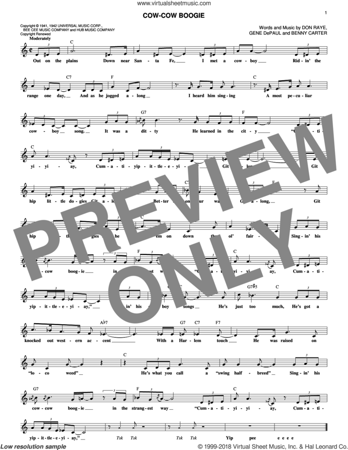 Cow-Cow Boogie sheet music for voice and other instruments (fake book) by Freddie Slack & His Orchestra, Benny Carter, Don Raye and Gene DePaul, intermediate skill level