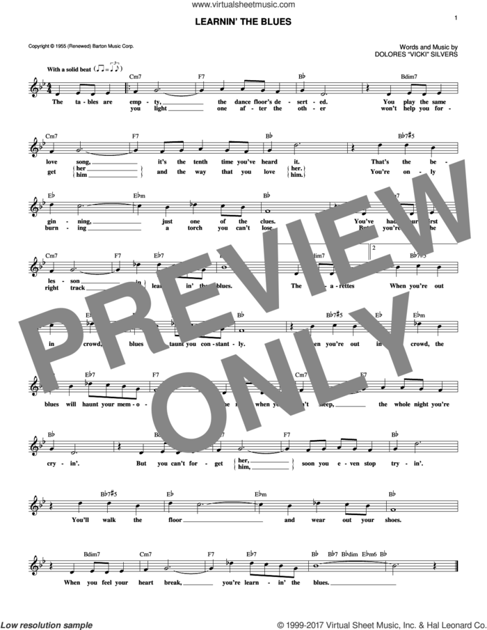Learnin' The Blues sheet music for voice and other instruments (fake book) by Rosemary Clooney and Dolores Vicki Silvers, intermediate skill level