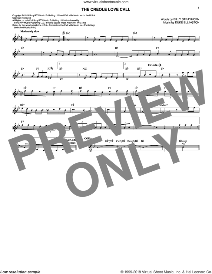 The Creole Love Call sheet music for voice and other instruments (fake book) by Duke Ellington and Billy Strayhorn, intermediate skill level