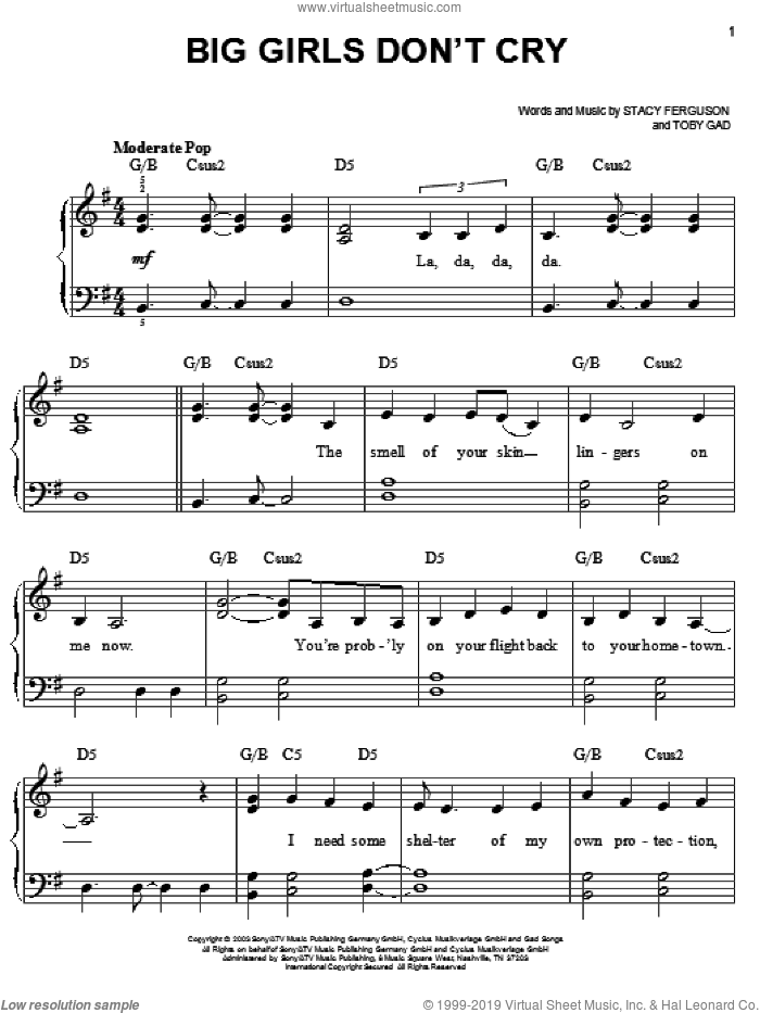 Big Girls Don't Cry sheet music for piano solo by Fergie, Stacy Ferguson and Toby Gad, easy skill level